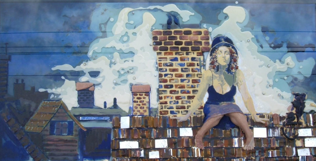 """Rooftop/Oil, Poly & Clay on Glass/26""""x12""""/$1800"""