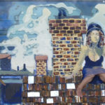 "Rooftop/Oil, Poly & Clay on Glass/26""x12""/$1800"